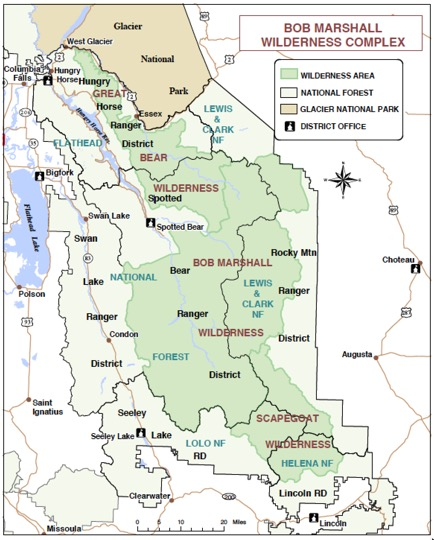 Bob Marshall Wilderness Map Map of the Bob Marshall Wilderness Area