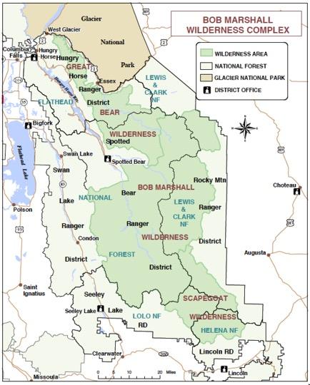 Bob Marshall Wilderness Map Map of the Bob Marshall Wilderness Area