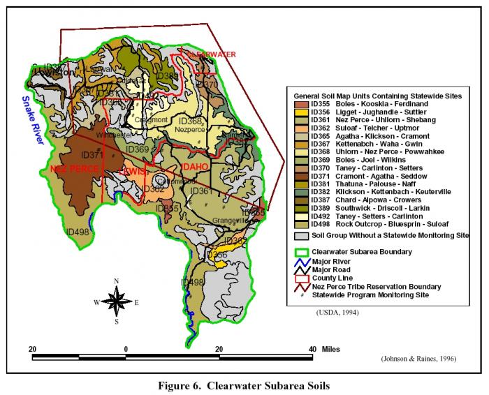 Map of soil distribution within the Clearwater Plateau.