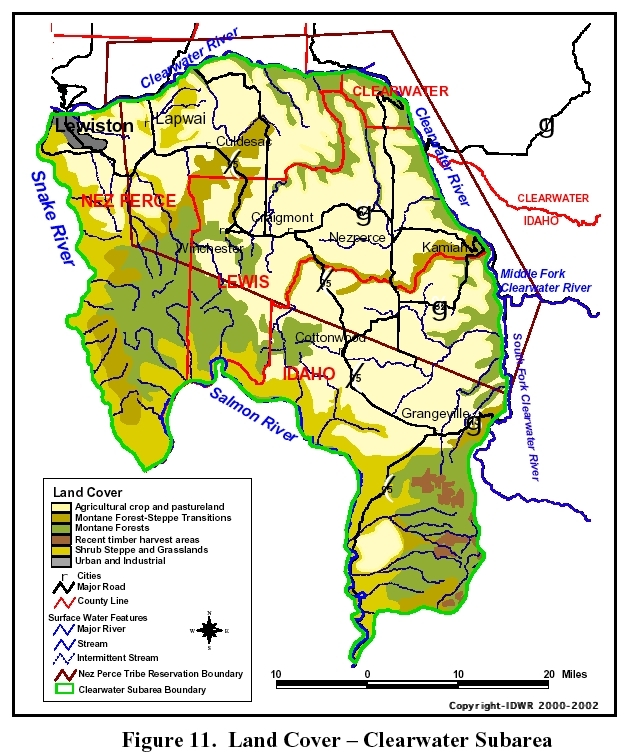 A map showing the land cover of the Clearwater Plateau Subbasin.
