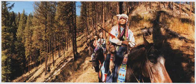 An image showing Nez Perce tribal members on horseback.