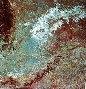 Landsat image of the Badlands (bluish-white region).