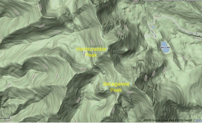 Google Map of Sacagawea Peak