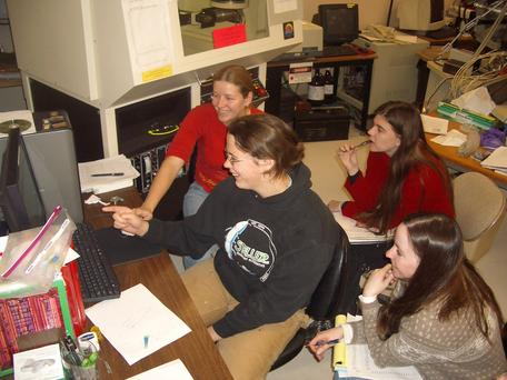 Students on the XRD in the Image and Chemical Analysis Laboratory at Montana State University.