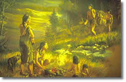 Native American family cooking.
