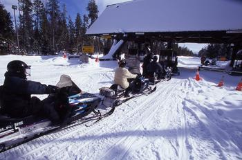 Snowmobiles in Yellowstone National Park.
