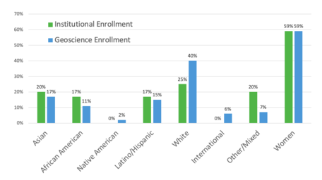 Enrollment demographics, institutional vs in geoscience courses
