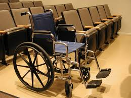 A wheelchair in a lecture room