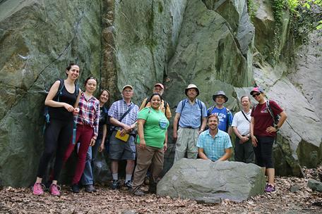 Field workshop participants in a historic quarry in D.C.'s Rock Creek Park.