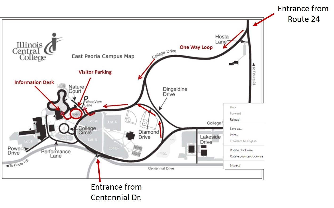 Illinois College Campus Map.Icc Campus Driving Map