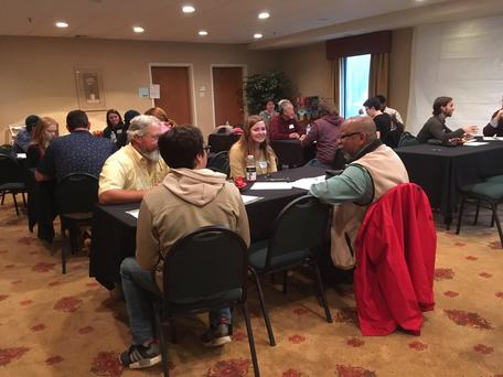 Participants discuss geoscience jobs.
