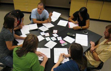 Students discuss a geologic problem.