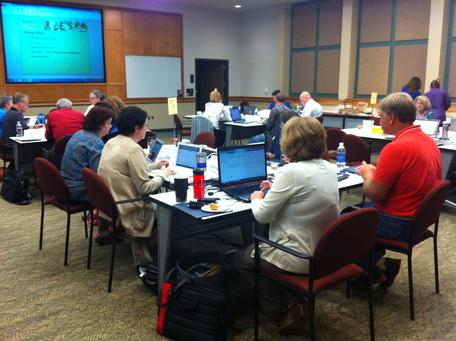 Participants create action plans for further work following the 2013 SAGE 2YC workshop in Austin, TX.