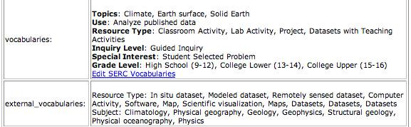Screen shot of the vocab summary