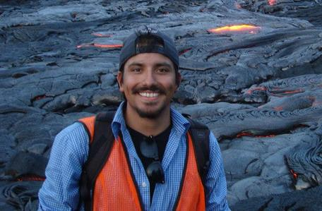 Ivan Carabajal on an active lava flow in Hawaii