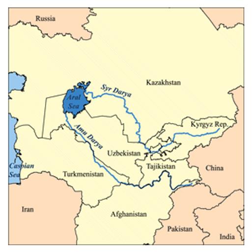 Illustration of Aral Sea Basin