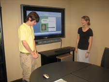 BIOL 3116 Students practice their presentations in the BASC CxC Studio, September 2008