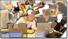 puzzle pieces of students working