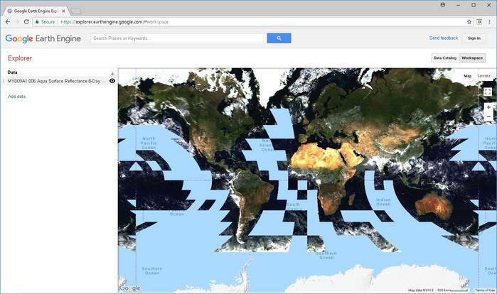 Earth Engine Explorer User Interface