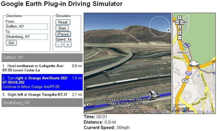 Google Earth API Driving Simulator at Ramapo Fault