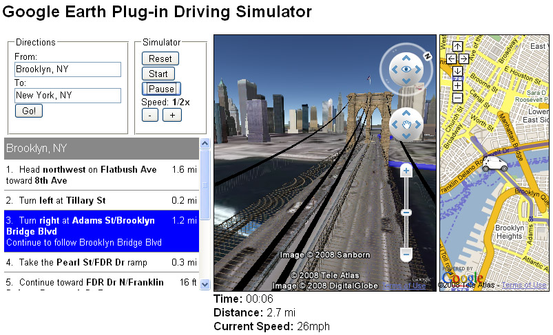 Google Earth Driving Simulator >> Google Earth API