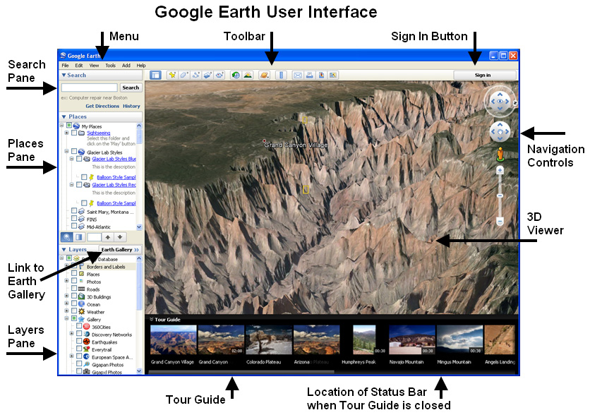 Google Earth User Interface
