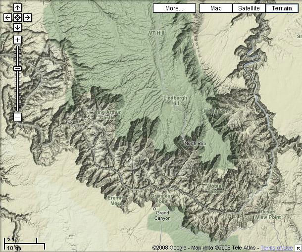 google maps grand canyon in terrain view