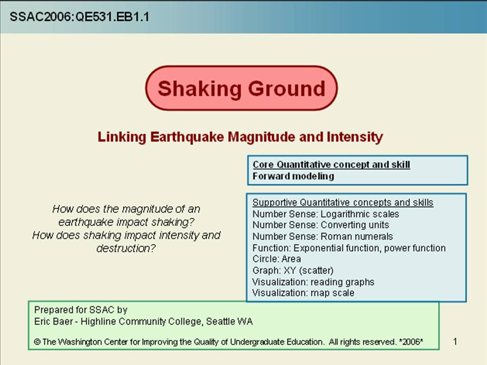 Shaking Ground - Linking Earthquake Magnitude and Intensity