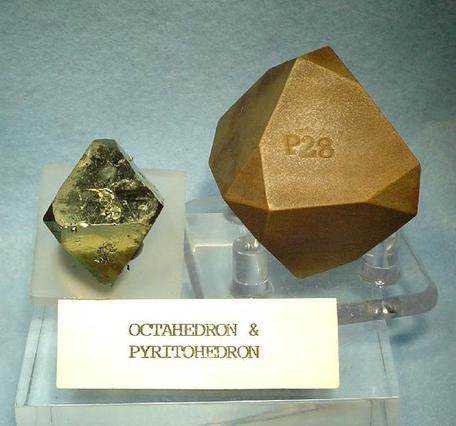 Turkish pyrite specimen accompanied by a classic, wood-cut, pyritohedron crystal model