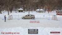 Toyota Prius slides across ice rink