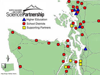 Map of the regional distribution of NCOSP school districts institutes of higher education and supporting partner locations.