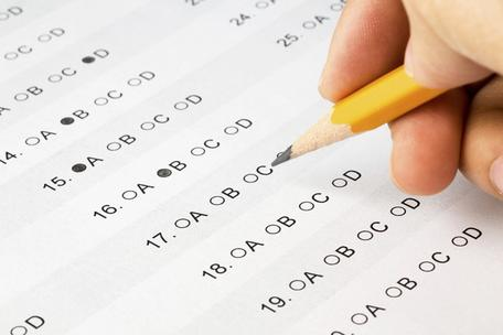 Filling out a multiple choice exam.