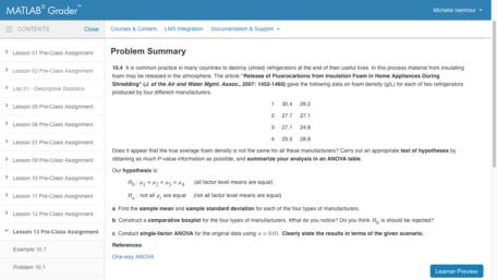 Example ANOVA Problem from MATLAB Grader