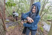 Environmental Science student cores an Atlantic white cedar tree in Northern NJ.