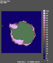 Southern Hemisphere ice concentration for April 2006, showing percentage of coverage