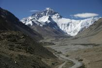 Figure 2. Glacial landforms north of Mount Everest.