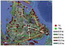 Figure 2. Zoomed-in map with data locations and transects used to study the Laurentide Ice Sheet retreat.