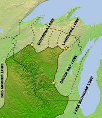 Figure 3. Map of Last Glacial Maximum lobes
