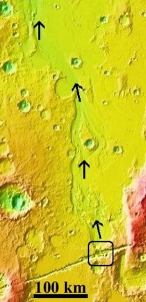Figure 3: Topography of Mangala Valles.