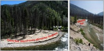 A fire-related debris flow was deposited in the summer of 2008 and formed an alluvial fan in the Middle Fork Salmon River, Idaho.