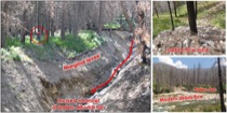 Fire-related debris flow incises through and deposits on top of old alluvial fan in the Middle Fork Salmon River, Idaho