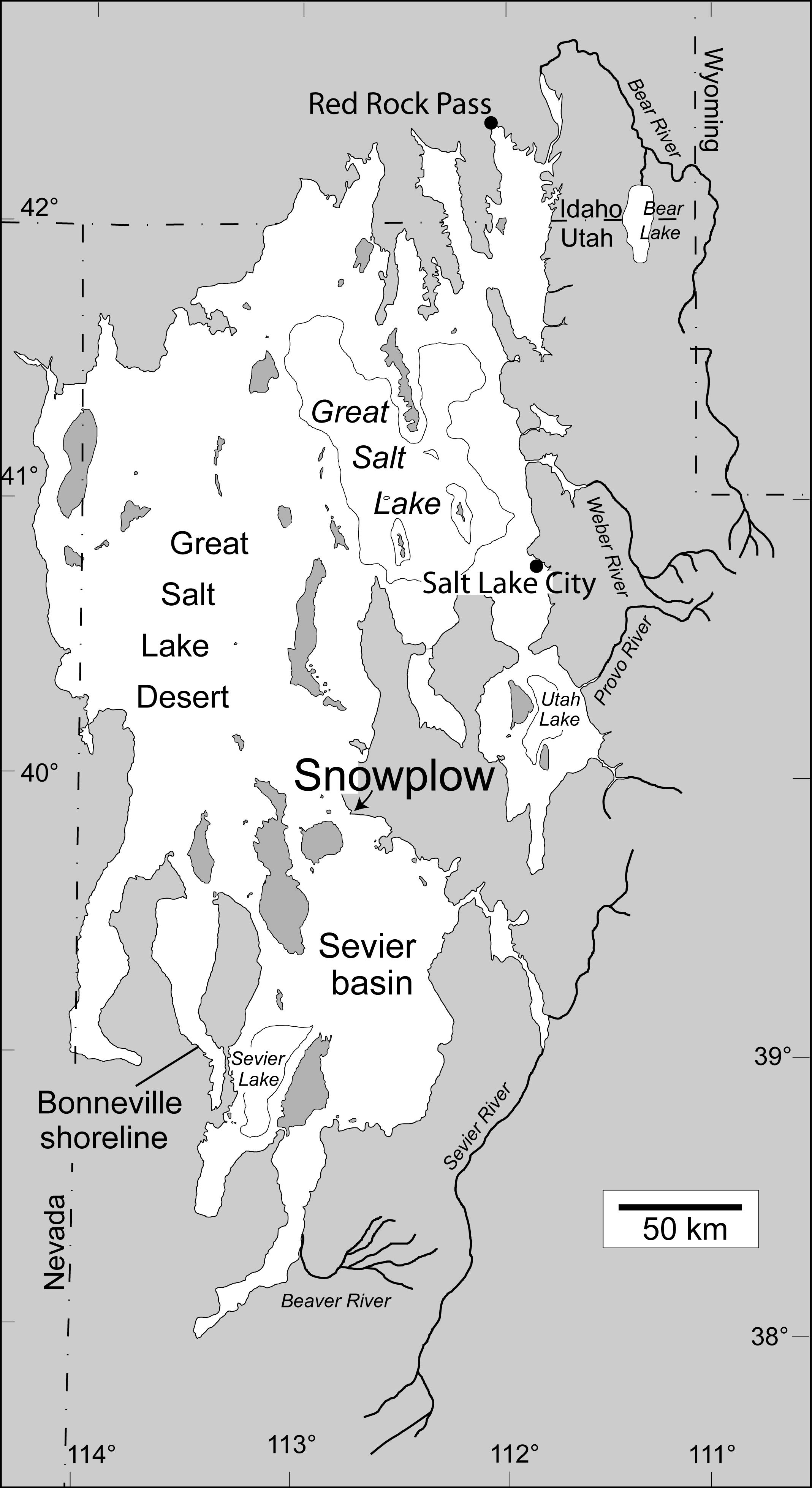Lake Bonneville Map Map of Lake Bonneville