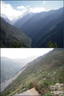 Figure 2:  Modi Khola valley and landslide