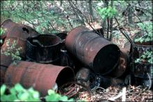Rotting barrels on the Hemmingway Trucking property